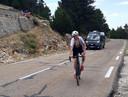 Pieter op weg naar de top van de Mont Ventoux