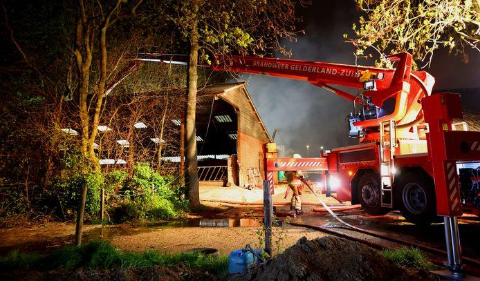 De brand ontstond om nog onduidelijke redenen in een schuur van het boerenbedrijf.