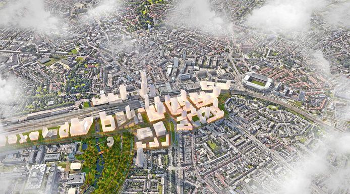 Het gebied tussen Philips Stadion (rechts) en Berenkuil (links net niet zichtbaar) in Eindhoven moet de komende 20 jaar ontwikkeld worden. De ingetekende blokjes zijn mogelijke ontwikkelingen, bedoeld ter inspiratie. Het zijn geen vastgestelde plannen, met uitzondering van de plannen voor District E, Bunkertoren, Rabobank, nieuwe Belastingdienst.