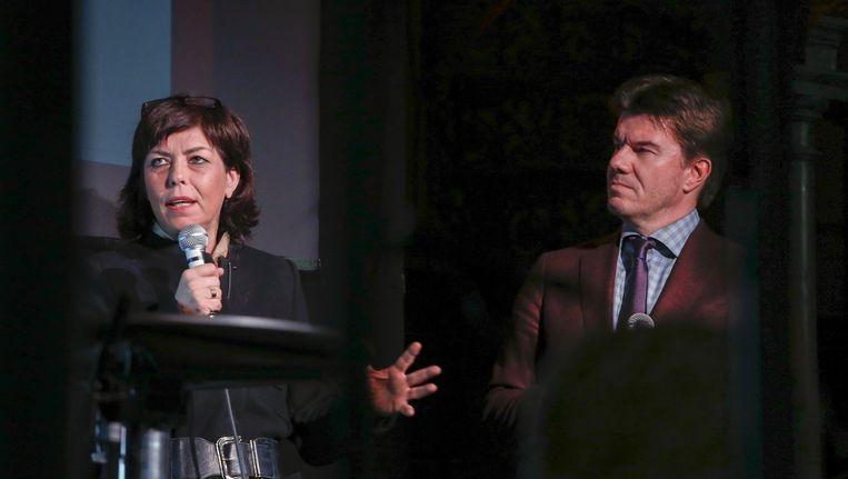 Joëlle Miquet en minister van Cultuur Sven Gatz. Beeld belga