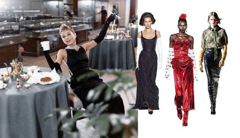 Van links naar rechts: Audrey Hepburn, Marc Jacobs, Rodarte en Saint Laurent. Beeld Getty