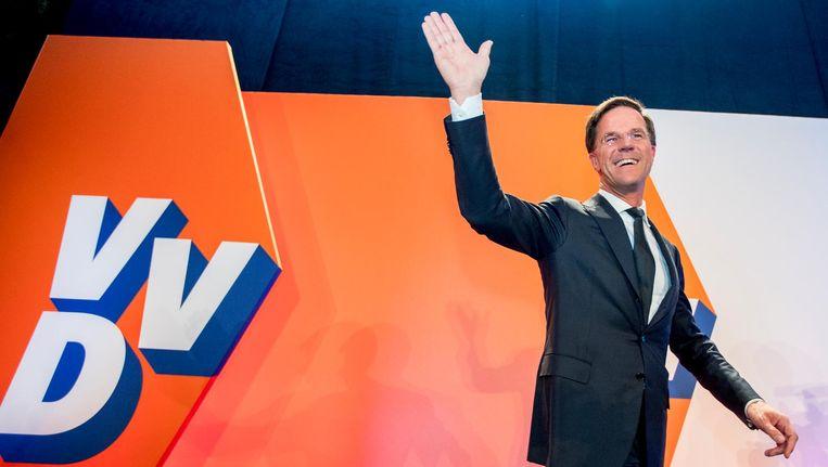 Partijleider Mark Rutte tijdens de verkiezingsavond van de VVD in WTC The Hague Beeld ANP