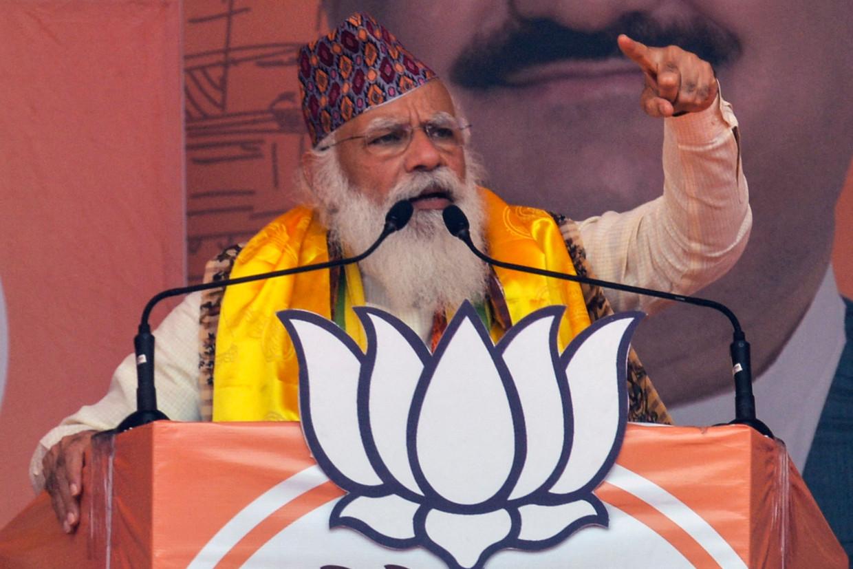De Indiase premier Narendra Modi tijdens een verkiezingstoespraak eerder deze maand. Beeld AFP
