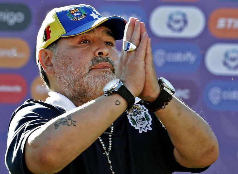 Diego Maradona in 2019 in La Plata, Argentinië. Hij overleed eind vorig jaar. Beeld AFP