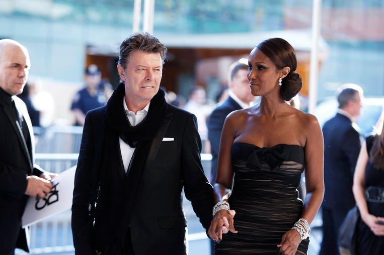 David Bowie met zijn vrouw Iman. Beeld REUTERS