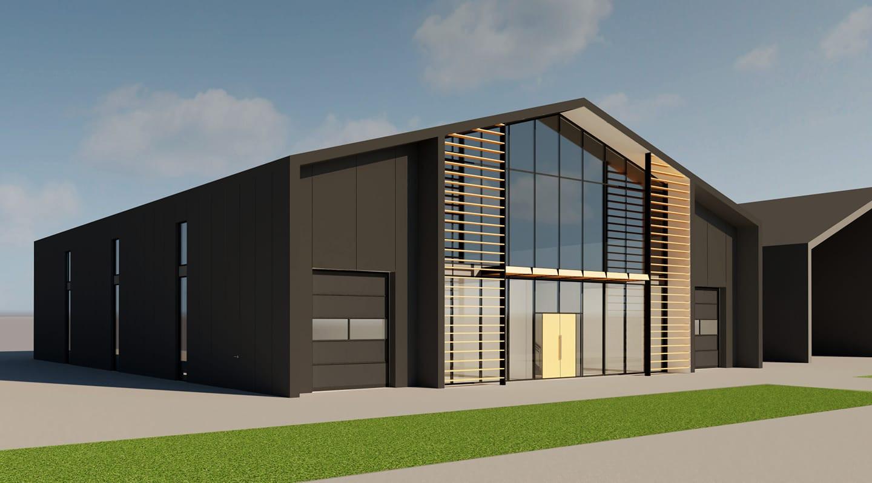 Zo komt het toekomstige onderdak van ZwembadPlus B.V. op bedrijventerrein Weuste Noord eruit te zien.
