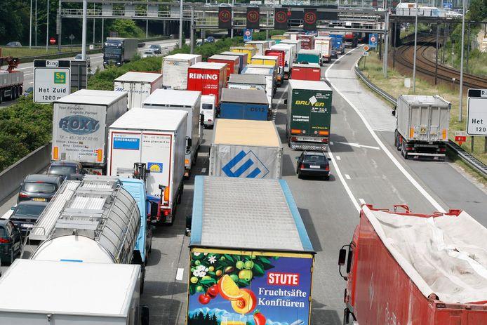Vrachtwagens schuiven aan op de Antwerpse ring (archieffoto).