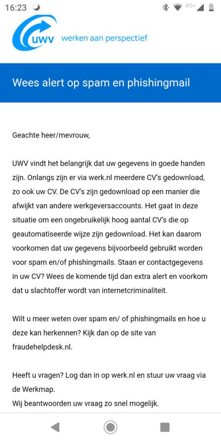 Bericht van het UWV aan getroffen gebruikers.