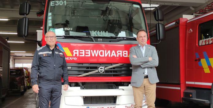 Plaatsvervangend zonecommandant Piet Beiralen en voorzitter van de zone Francis Benoit (CD&V)