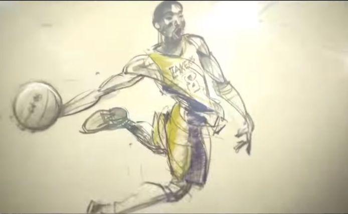 Screenshot uit Dear Basketball, de geanimeerde kortfilm gebaseerd op het gedicht van Bryant.