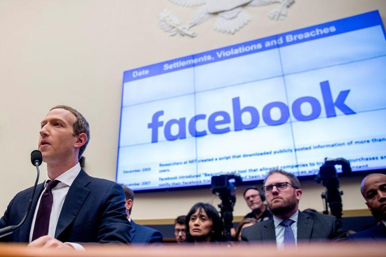 Archiefbeeld van Mark Zuckerberg, in 2019 toen hij werd opgeroepen door een commissie van het Amerikaanse Huis van Afgevaardigden. Beeld AP