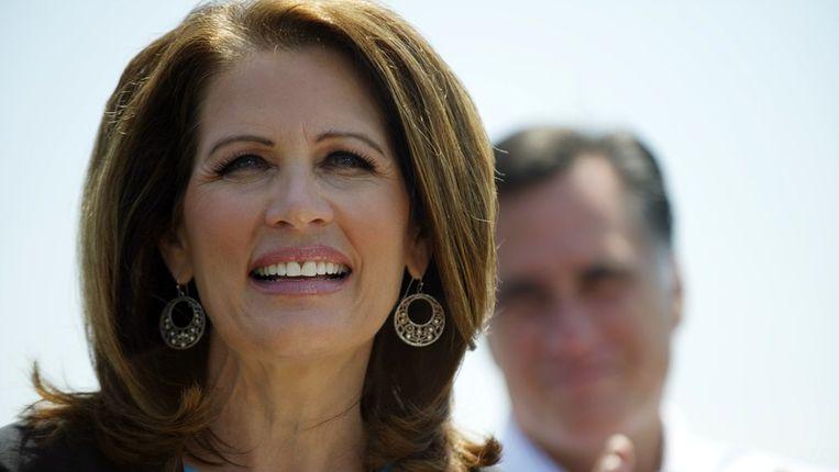 Michele Bachmann en Mitt Romney in Virginia op 3 mei. Beeld REUTERS