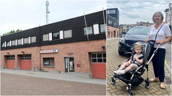 """De voormalige brandweerkazerne in de Dageraadstraat in Mechelen. Rechts Vera (57) en haar kleinzoon: """"Hoe verspreidt de stof zich? Via de grond of ook via partikels in de lucht?"""""""