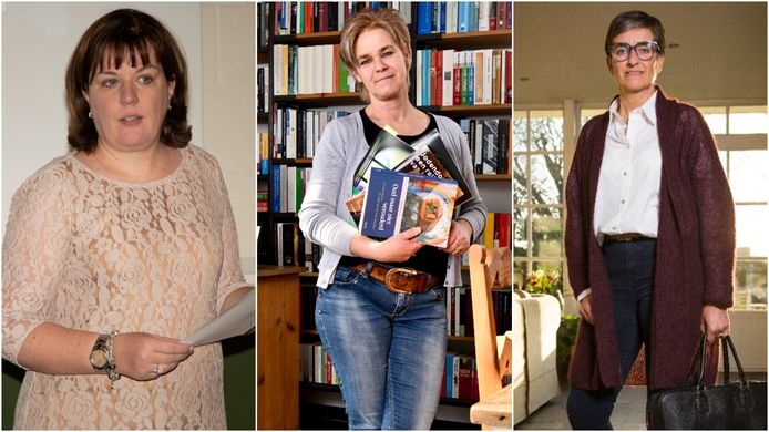 Tanja Biebaut, algemeen directeur Scholengroep Priester Daens College in Aalst, leerkracht godsdienstwetenschappen Audrey Dusoir en Mieke Genbrugge, directrice gemeentelijke basisschool van Evergem.