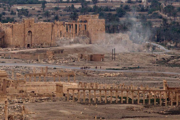 Bij het offensief in april 2016 om de Syrische stad Palmyra te heroveren, waren huurlingen van de Wagner Group betrokken.  Beeld AP