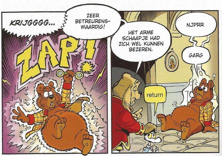 Tom Poes en de tijdverdrijver van Tim Artz, een verhaal dat deels is gebaseerd op de computerspelletjes Pacman en Donkey Kong. Beeld Stichting Het Toonder Auteursrecht