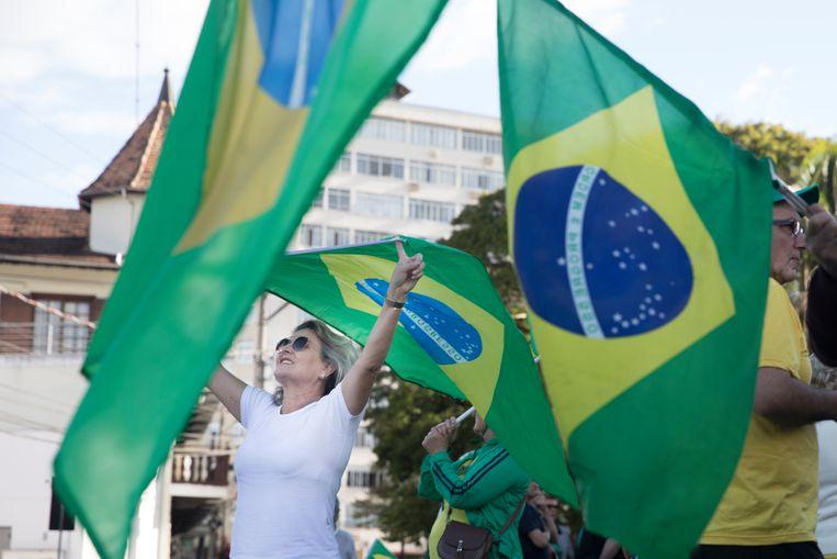 Bolsonaro-aanhangers in Blumenau, waar Vila Itoupava toe behoort.  Beeld Marlena Waldthausen