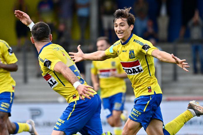 Thomas Van den Keybus juist na zijn late gelijkmaker in de felbevochten topper tegen SK Deinze.