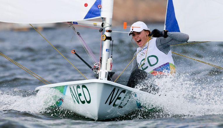 Marit Bouwmeester op weg naar olympisch goud in Rio. Beeld EPA