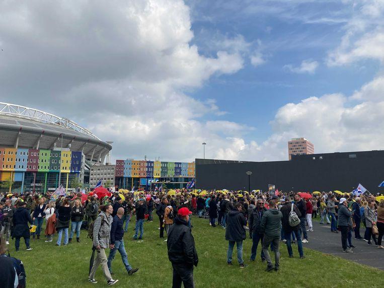 Demonstranten verzamelen zich op Arenapark