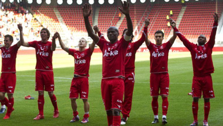 FC Twente-spelers vieren hun overwinning op Feyenoord. Foto ANP Beeld