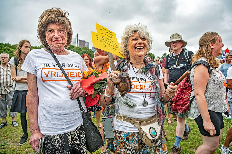 Demonstranten van Viruswaanzin op het Malieveld. Beeld Guus Dubbelman / De Volkskrant