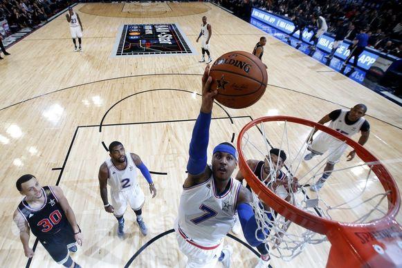 Carmelo Anthony scoort tijdens de All Star Game van afgelopen weekeinde.