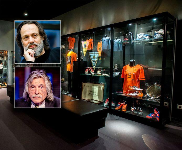 Het, inmiddels opgedoekte, voetbalmuseum. Inzetjes: Hugo Borst (boven) en Johan Derksen.
