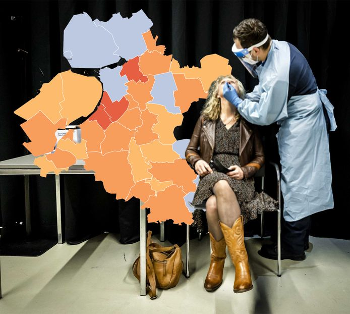 De coronakaart van Oost-Nederland van 21 februari.
