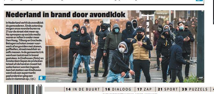 De voorpagina van Het Laatste Nieuws, met een verwijzing naar de rellen in Nederland en Eindhoven.