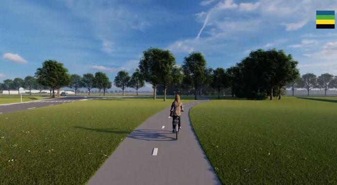 Beeld uit de animatie over de aanpassing van de N832 tussen Well en Gameren. Een impressie van het nieuwe brede fietspad, vlakbij de kruising met de Uilecotenweg. Links ligt Kerkwijk, rechts de Achterdijk.