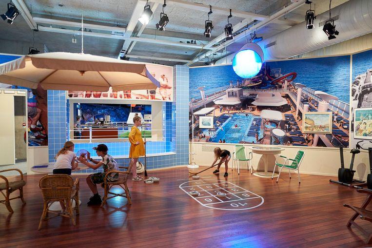Volgens het Maritiem Museum draait de expositie 'Zeekastelen' om de beleving van een luiervakantie. Beeld Phil Nijhuis