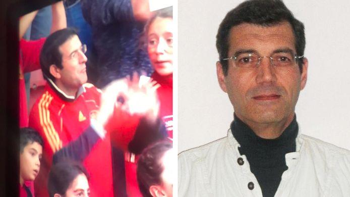 De Spaanse supporter in kwestie en de al tien jaar voortvluchtige  Xavier Dupont de Ligonnès.