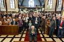Pastoor Tonnie van Steen bij de viering van zijn 100ste verjaardag in Asten Heusden.