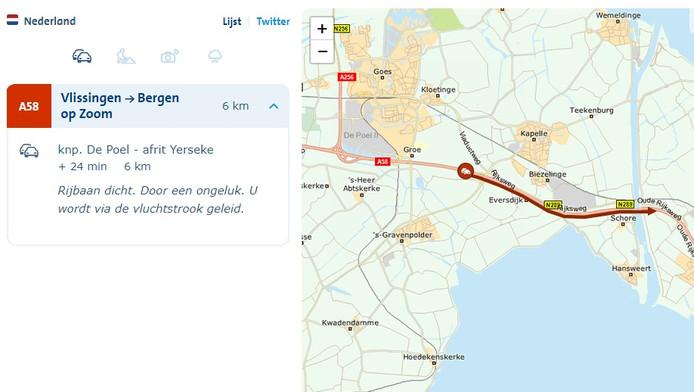 Verkeerssituatie om 13.30 uur volgens de ANWB.