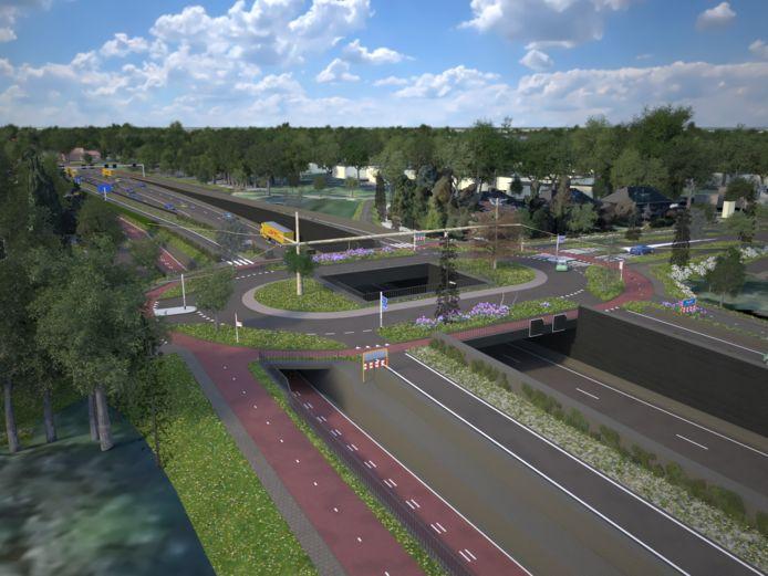 Impressie van het huidige plan: het kruispunt Vijverbosweg-Boslaan met de N65 eronderdoor.