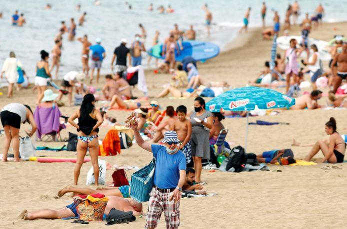 Een beeld van het strand in Las Palmas.