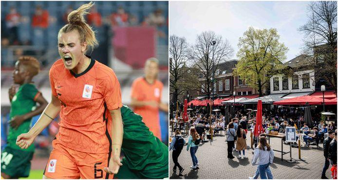 Jill Roord scoorde in de openingswedstrijd van Oranje op de Olympische Spelen en Enschede steekt twee ton in de terrassen.