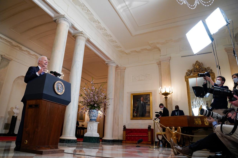 Joe Biden had van de erkenning een verkiezingsbelofte gemaakt en staat nu onder druk om die in te lossen.  Beeld AP
