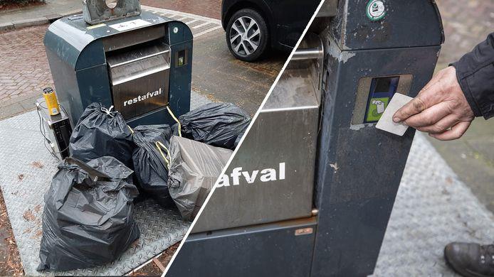 De borden worden neergezet in de strijd tegen afvaldumpers, die vuilnis náást de containers plaatsen.