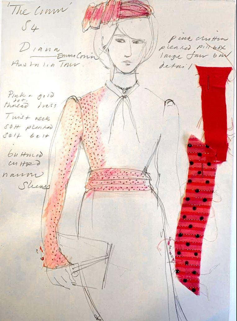 Een schets van het roze pakje dat Emma Corrin als prinses Diana draagt in seizoen 4 van The Crown; een exacte kopie van de outfit die de echte Diana droeg. Beeld Netflix