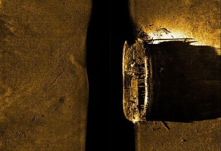 Sonarbeelden van het wrak dat zondag werd gevonden. Beeld AP