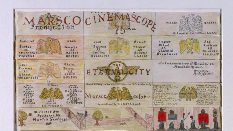 Storyboard van de nooit gemaakte film The Eternal City, door de 11-jarige Marty Scorsese. Beeld null