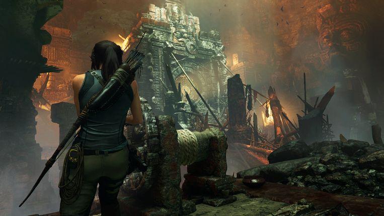 De inzet van een Lara Croft-verhaal is nog nooit zo groot geweest als in 'Shadow of the Tomb Raider'. Beeld Square Enix