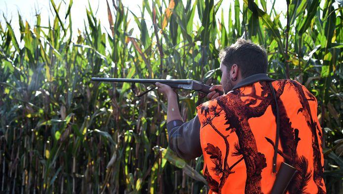 Een jager aan het werk in Lamnay, in het Franse noordwestelijke departement Sarthe.