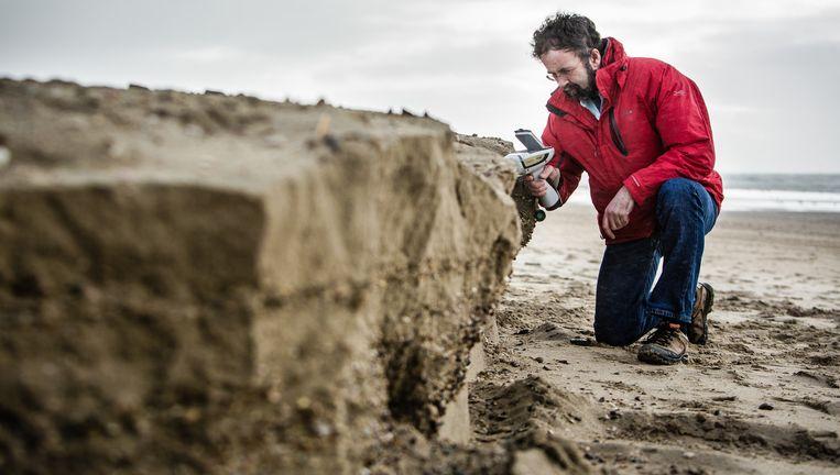 Jasper Griffioen meet de chemische samenstelling van stenen in Egmond aan Zee. Beeld Freek Van Den Bergh / de Volkskrant