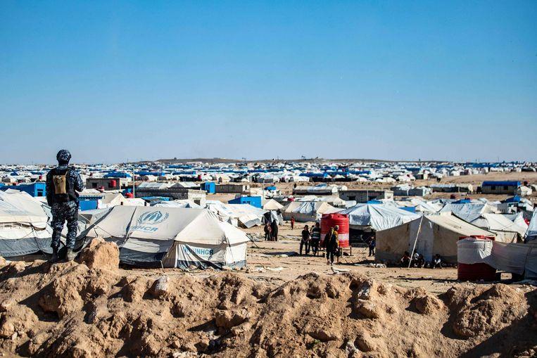 Het Syrische vluchtelingenkamp Al-Hol, een stad van tenten. Beeld AFP