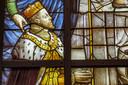 Een deel van een paneel van de Goudse Glazen uit de Sint-Janskerk uit Gouda. In opdracht van Filips de Tweede, koning van Spanje, gemaakt door Dirck Crabeth.