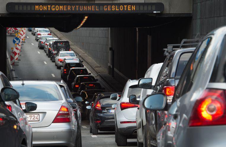 Verkeersdrukte in Brussel.  Beeld BELGA