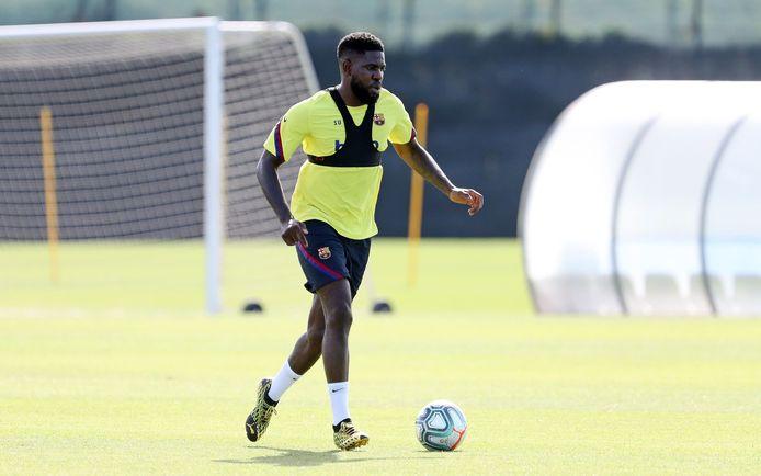 Umtiti eerder op een training van FC Barcelona.